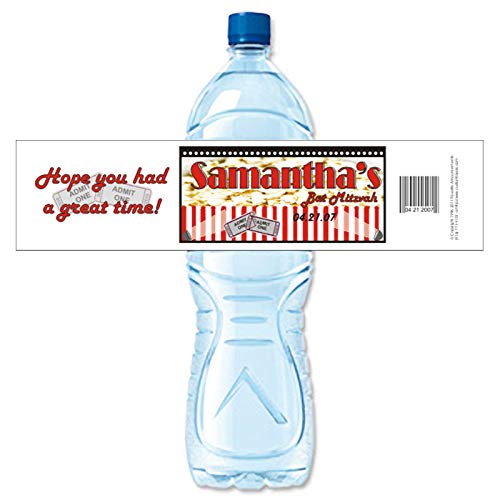 Movie or Popcorn Theme Bat Mitzvah Personalized Water Bottle Labels, Waterproof (set of 24)(Y413) for $<!--$23.76-->