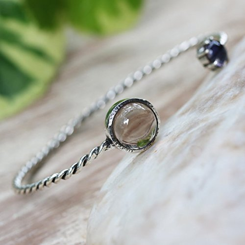 Smoky quartz and iolite gemstones cuff bracelet with sterling silver twist band