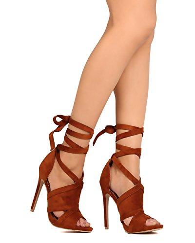 Alrisco Sko Republiken La Fg84 Kvinnor Faux Mocka Peep Toe Klippa Ut Fotled Wrap Stilett Sandal Kastanj