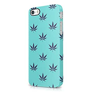 Weed Marijuana Leaf Baby Blue Turquoise Pattern Hard Plastic iPhone 5 / iPhone 5S Phone Case Cover