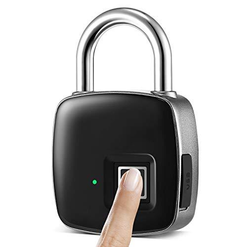 Win-digital Fingerprint Padlock,Waterproof Keyless Padlock, Suitable for Gym,House Door, Suitcase, Backpack,Office, Support USB Charging