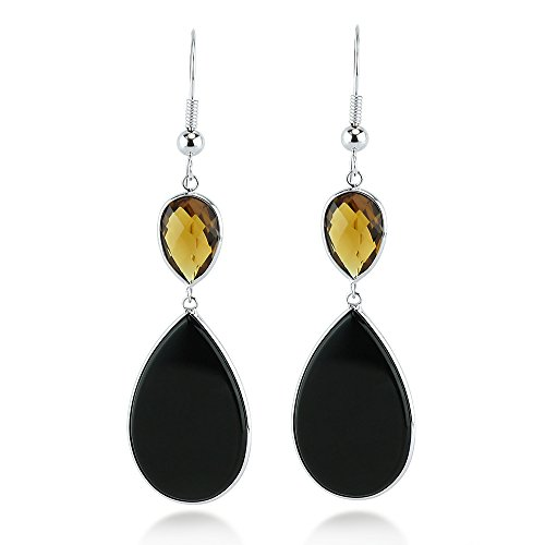 Earrings 14k Onyx Drop (14K White Gold Drop Earrings With Pear Shaped Black Onyx And Smoky Quartz Gemstones)