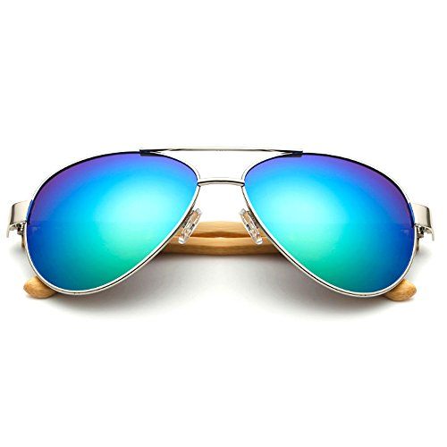 VeBrellen Men's Sunglasses Bamboo Wood Arms Classic Mirrored Aviator Sunglasses For Men & Women (Silver Frame With Green Lens, - Lv Case Sunglasses