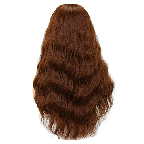 Long Wavy Wigs for American Synthetic Grey Brown Wigs with Bangs Heat Resistant,Light Brown,24inches