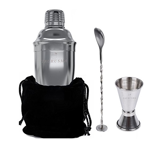 Penguin Flare Skirt (Cocktail Set: 4 Piece, 24 oz Stainless steel with Built-in Strainer, Double Measuring Jigger, Mixing Bar Spoon, Velvet Pouch with E-Book Recipes. Perfect for Parties.)
