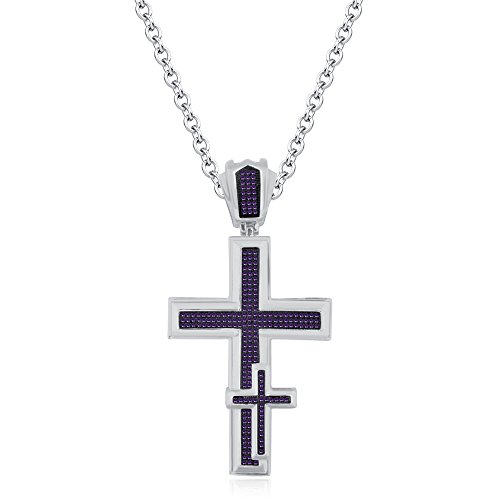 Smjewels 14K Yellow Gold FN Tanzanite Sim Diamonds Micro Pave Unisex Religious Cross Pendant by Smjewels