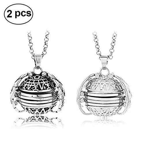 2 Pcs Expanding Photo Locket Necklace Pendant Angel Wings Photo Lockets Jewelry Clothing Decoration Accessory Great Gift for Mother's Day Valentine Birthday ()