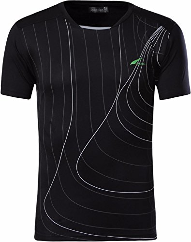jeansian Uomo Asciugatura Rapida Sportivo Casuale Slim Sports Fashion T-Shirts Maglia Vest LSL013, Black, US M/Label L (170-175cm 65kg-70kg)