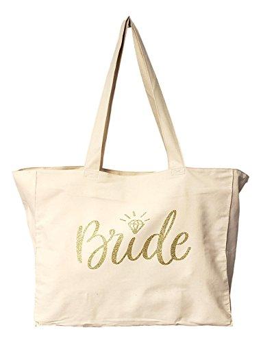 Bride XX Large Tote Bag Heavy Duty Cotton Twill with Zipper (Off (Bride Zipper)