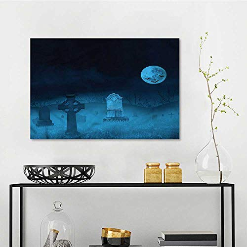 one1love Gothic DIY Oil Painting Ghostly Graveyard Halloween Office Art Decoration W23 xL15 ()