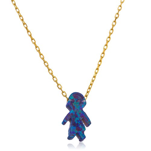 Sterling Silver Goldtone Dark Blue Created Opal Boy Pendant with an 18 Inch Link Necklace (I-1909) (Adam & Eve Costume)