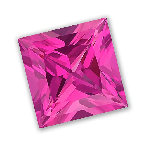 6x6mm Princess Cut Gem Quality Chatham Lab-Grown Pink Sapphire Weighs 1.30-1.58 Ct, Medium Tone.