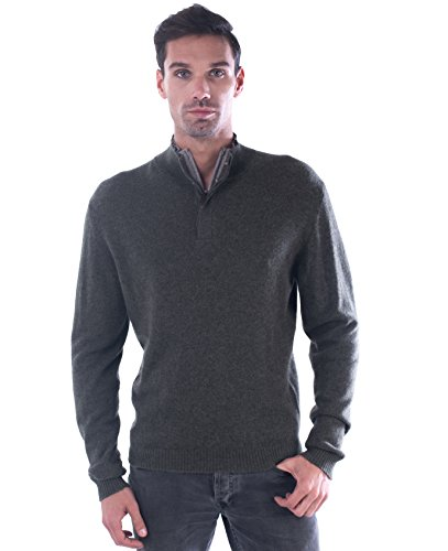 cashmere 4 U Men's 100% Pure Mongolian Cashmere Zipped Collar Truck Cashmere Sweater with Elbow Patches (Small, Vert Fonce with Grege Patch)