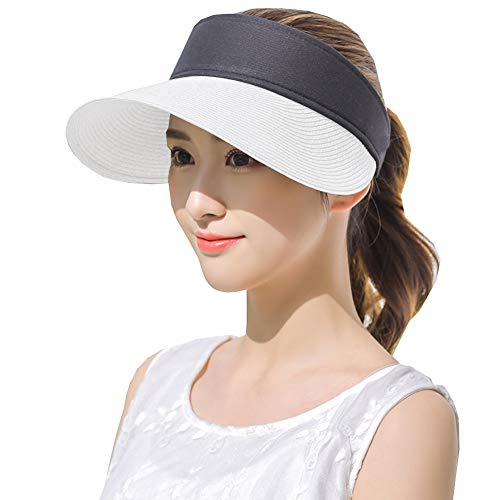 Womens Straw Sun Visor Hat Large Brim UV Protective Sewn Braid White