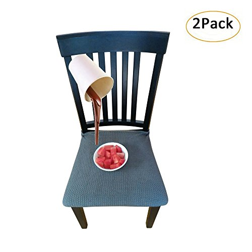 Cover Cushion Seat (Waterproof Dining Chair Cover Protector - Pack of 2 - Perfect For Pets, Kids, Elderly, Restaurants, Party - Machine Washable, Elastic, Removable, Premium Quality, Clean the Mess Easily (Grey Blue))
