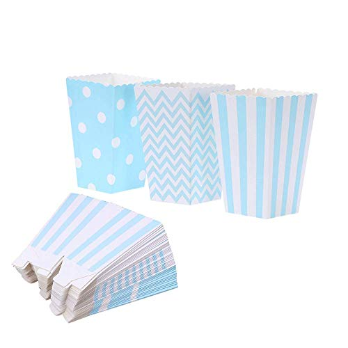 Blue Popcorn Boxes Cardboard Candy Party Favor Boxes Container,Open-Top Paper Popcorn Boxes For Birthday, Bridal Baby Shower,Carnival/Movie/Fiesta,Dessert Tables Wedding Party Supplies,36pcs for $<!--$8.99-->