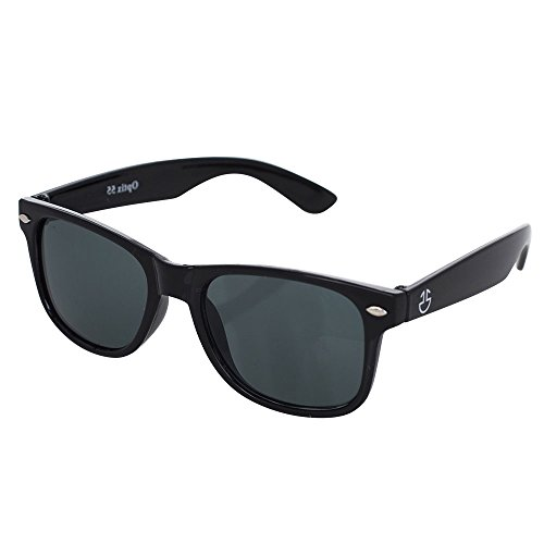 Kids Sunglasses, Retro Wayfarer Shades For Children Assorted Colors With Full UV Ray Protection, Unisex - By Optix 55 (Black, - Bans Locations Ray