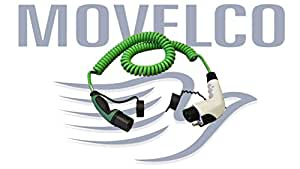 Movelco Cable Carga Coche electrico e hibrido Enrollado Type 2 a Type 1 1x16A Verde