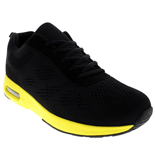 Get Fit Womens Running Gym Walking Fitness Sports Athletic Cushioned Sneakers Black/Black/Yellow UpmXqN