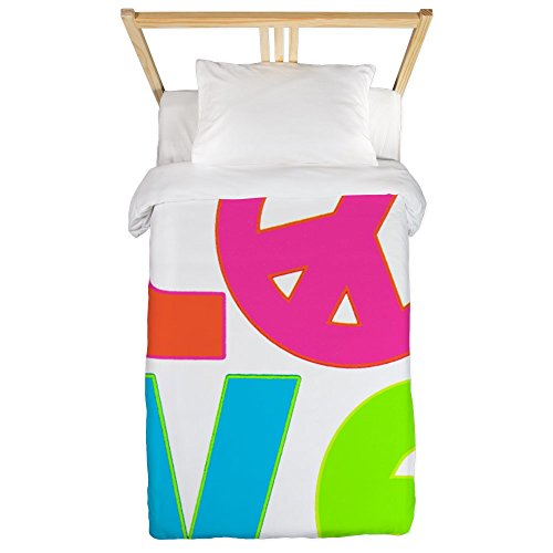 Twin Duvet Cover Neon Love with Peace Symbol Sign by Royal Lion