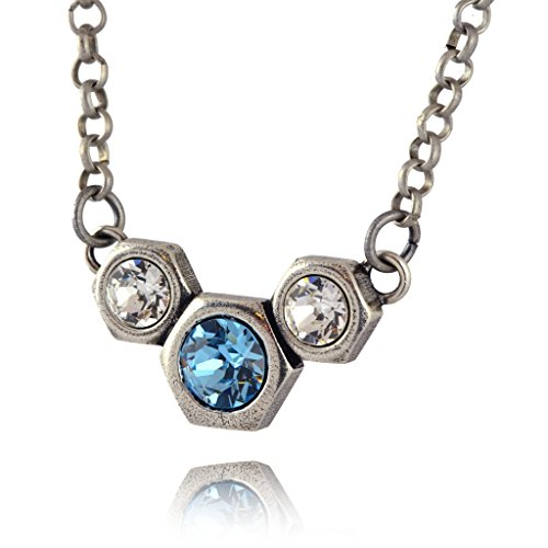 Nara 3 Hexagon Necklace, Silver Plated Modern Honeycomb Bolt on Pendant with Blue Crystal