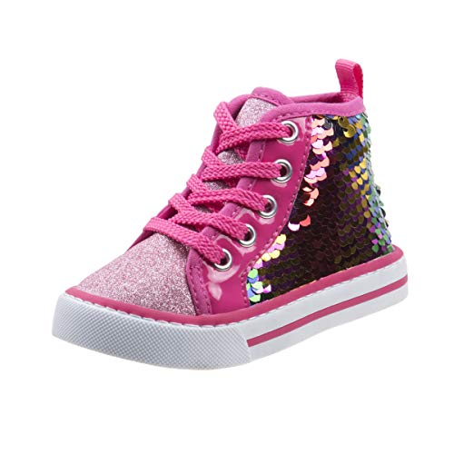 Laura Ashley Girls Side Zipper High Top with Glitter & Studs (Toddler) (9 M US Toddler, Fuchsia Multi Seq)'