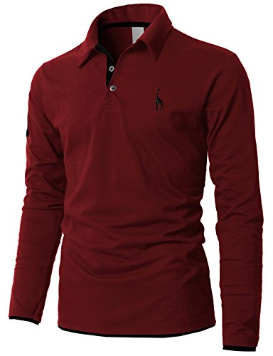 - H2H Mens Casual Regular Fit Basic Short Sleeve Button Down Pique Polo Shirts Wine US M/Asia XL (KMTTL0452)