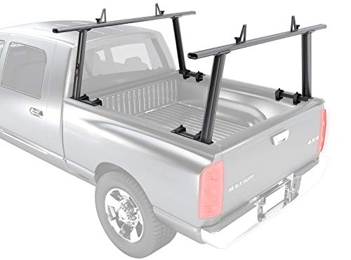 (AA-Racks Model APX25 Extendable Aluminum Pick-Up Truck Ladder Rack (No Drilling Required) - Dark Gray)