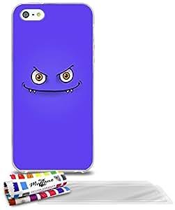 """Carcasa Flexible Ultra-Slim APPLE IPHONE 5S / IPHONE SE de exclusivo motivo [Monstruo púrpura] [Transparente] de MUZZANO  + 3 Pelliculas de Pantalla """"UltraClear"""" + ESTILETE y PAÑO MUZZANO REGALADOS - La Protección Antigolpes ULTIMA, ELEGANTE Y DURADERA para su APPLE IPHONE 5S / IPHONE SE"""