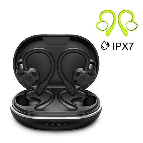 Bluetooth Sport Kopfhörer HolyHigh Bluetooth 5.0 Kabellose Ohrhörer mit Mikrofon Wasserdicht IPX7 6+30H Spielzeit Auto Pairing Siri Aktivierung Stereo Lärmminderung Headsets für iOS, Android