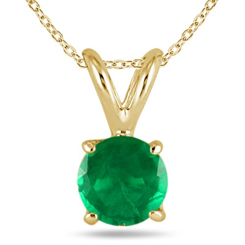 All-Natural Genuine 4 mm, Round Emerald pendant set in 14k Yellow gold