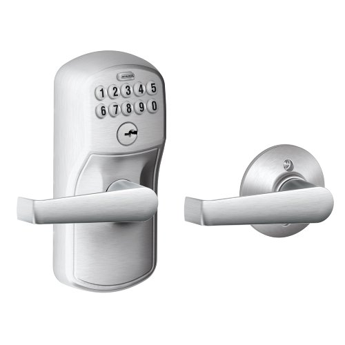 - Schlage FE575 PLY 626 ELA Plymouth Keypad Entry with Auto-Lock and Elan Levers, Brushed Chrome