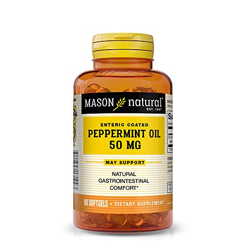 (Mason Natural, Peppermint Oil, Enteric Coated Soft Gels, 50 Mg, 90 Count, Herbal Dietary Supplement Supports Healthy Digestion, Promotes Natural Gastrointestinal Comfort, May Help Those with IBS)