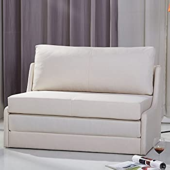 Amazon Com Sleeper Loveseat Convertible Sofa Upholstered Twin Size Daybed Linen Fabric