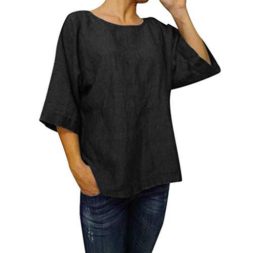 Jianekolaa Women's Elbow Sleeve Linen Tunic Crew Neck Tops Solid Color Loose Retro Blouse Plus Size Black