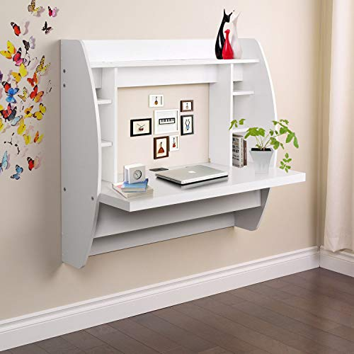Prountet Home Office Computer Desk Table Floating Wall Mount Desk W/Storage Shelves White by Prountet (Image #6)