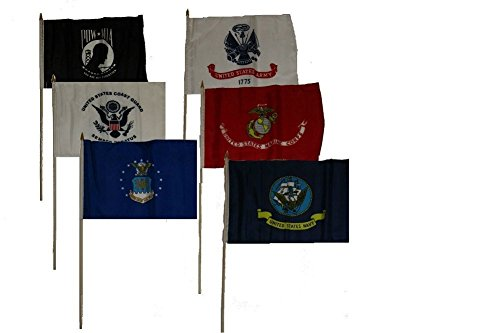 12x18 Military 5 Branches Army Navy Marines Air Force Coast Guard and Pow Mia Stick Flag Set 6 12
