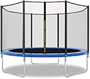 FDW 10FT Trampoline with Enclosure Net Ladder Outdoor Fitness Trampoline PVC Spring Cover Padding for Children