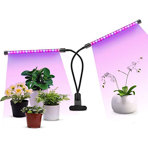 Grow Lights for Indoor Plants, 18W 36 LED Clip-On Growing Light with Red, Blue Spectrum, Adjustable Dual Head Goose-Neck Grow Lamps, 3/9/12H Timer, 5 Dimmable Levels
