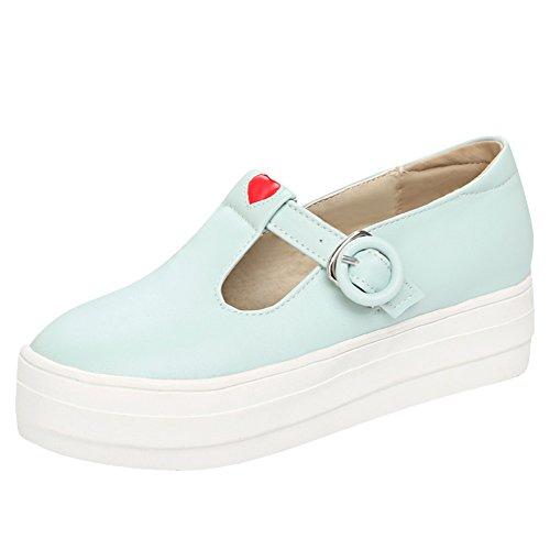 Show Shine Dames Gespen Casual Plateau Dikke Hak Loafers Schoenen Blauw