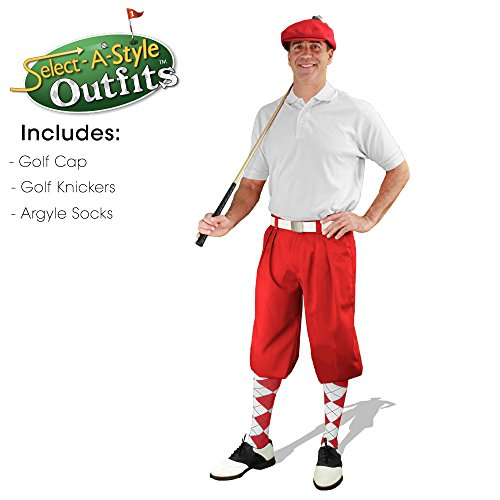 Mens Select-A-Style Golf Knicker Outfit - Red - Waist 42 - Sock - RD/WH by Golf Knickers