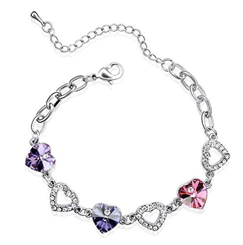 SDKJHzemi Austrian Crystal Three 3 Heart Chain Link Bracelet Charms Women Fashion Jewelry Party Lovers Gifts Violet Purple Pink