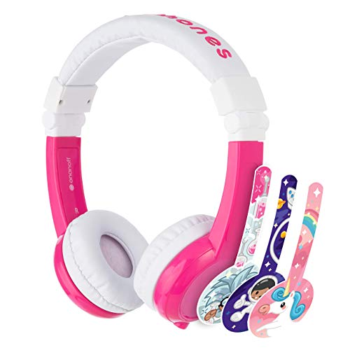 BuddyPhones Explore Foldable - Kids Volume Limiting Headphones - Built-In Audio Sharing Cable and In-Line Mic - Compatible with Fire, iPad, iPhone, and Android Devices - Pink