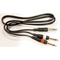 1/4 6.3mm Stereo TRS Male Plug to 1/4 6.3mm Mono Male Ts Y Cable Breakout 3ft.