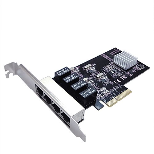 Vantec 4-Port PCIe Gigabit Ethernet Network Card with Low Profile Bracket 9K Jumbo Frame for PCIe x4/x8/x16 Slot Black/Silver (UGT-PC100GNA) by Vantec (Image #1)