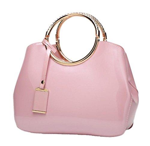 ZXCB Damentasche Lackleder Schultertasche Brauttasche Vintage Elegante Handtasche Geldbörse Pink