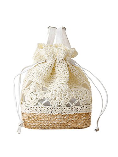 Shoulder Lightweight Women's Drawstring Bag FBA Style Hook Boho Sweet Backpack Flower Knitted Straw White Sulida zwqf8AA
