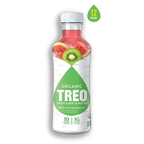 Organic Treo - Fruit and Birch Water Drink, Kiwi Watermelon, 16 Fl oz. (Pack of 12)