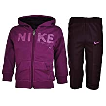 Nike Girls Fleece Jog Suit Hooded Tracksuit Infant Purple 3-36 Months New 481506