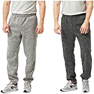 TEXFIT 2-Pack Men's Jogging Pants with Side Pockets, Elastic Bottom, Soft Fleece Sweat P